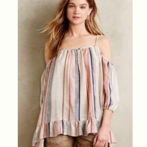 Anthropologie cold shoulder striped tunic a M